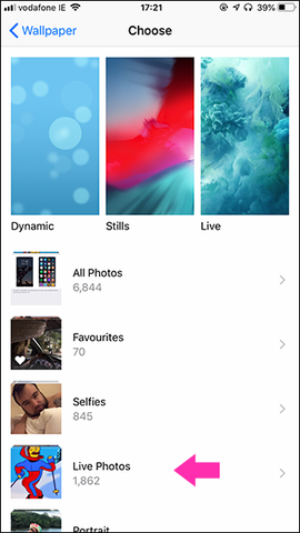 Select Live Photos on iPhone