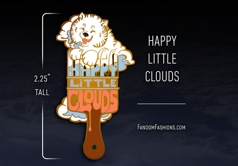 Happy Little Clouds Paintbrush Pin