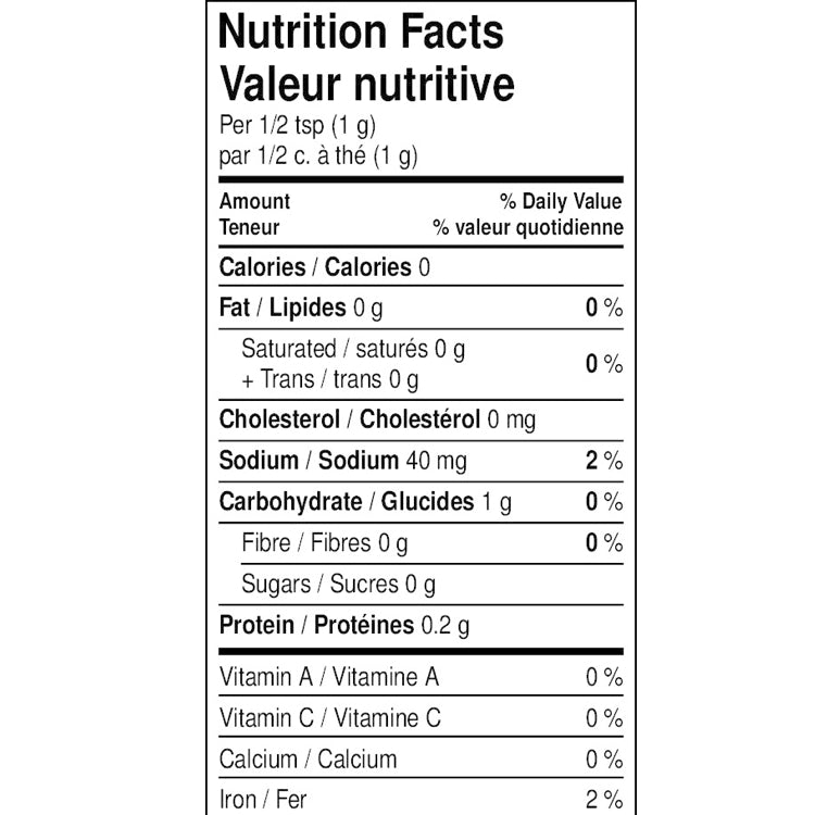 The nutritional facts for Aglio Napoletano