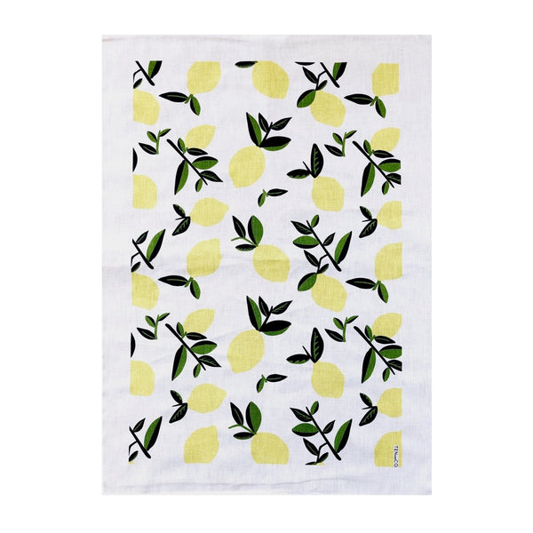 A rectangular cotton-linen blend tea towel with citrus lemon print