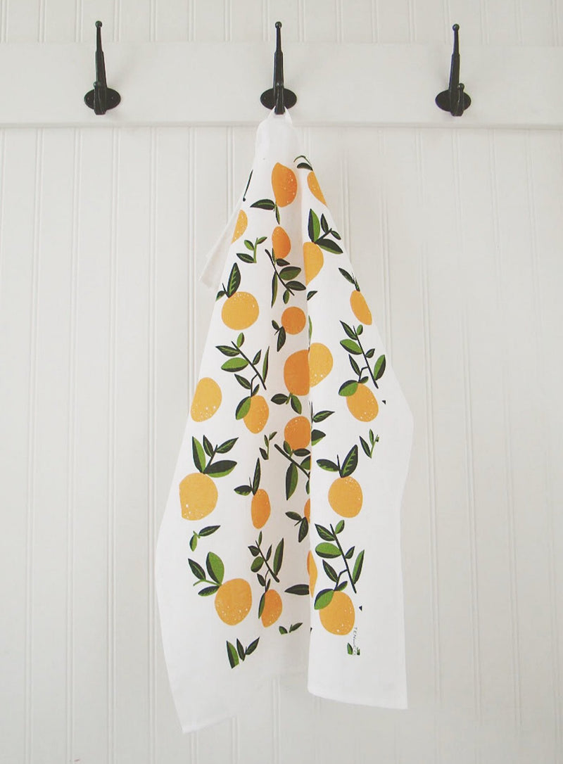 Citrus Orange Tea Towel hanging