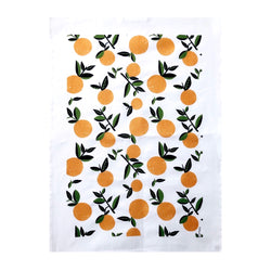 A rectangular cotton-linen blend tea towel with citrus orange print