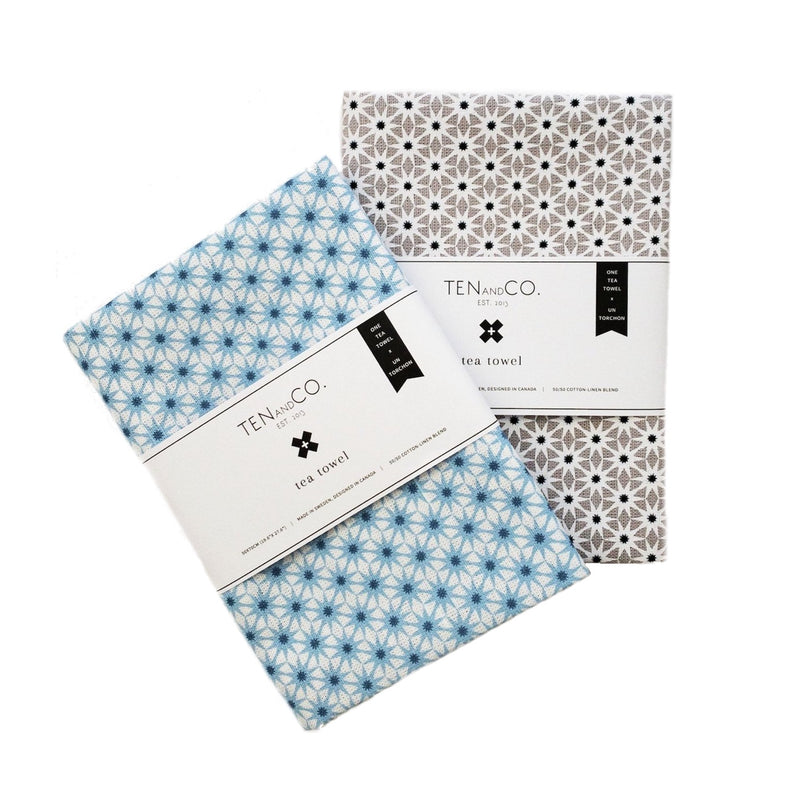 Grey and Blue Starburst Tea Towels