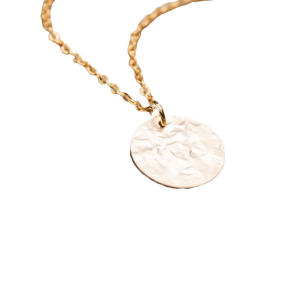A close up of a 16K gold-plated hammered disc necklace attached to a gold chain