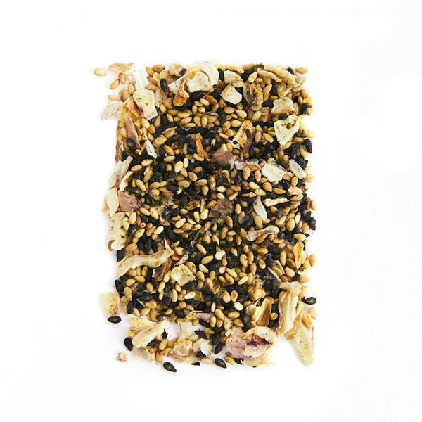 A blend of spices including black and white sesame seeds, seaweed flakes, shallots and cayenne