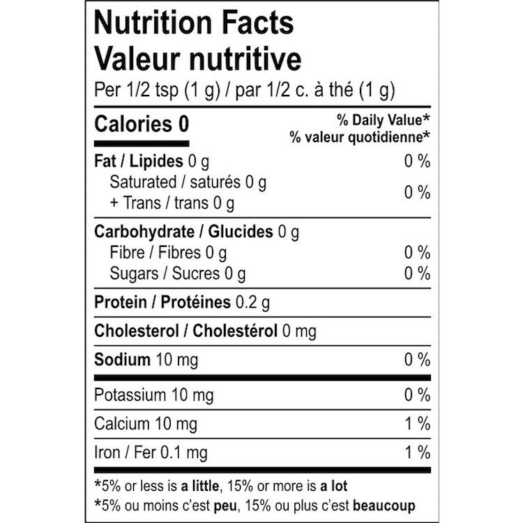 The nutritional facts for Montreal Bagel Spice