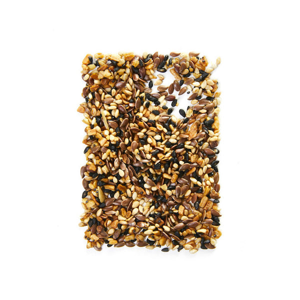 A blend of white and black sesame, poppy and flax seeds, zesty onion and garlic