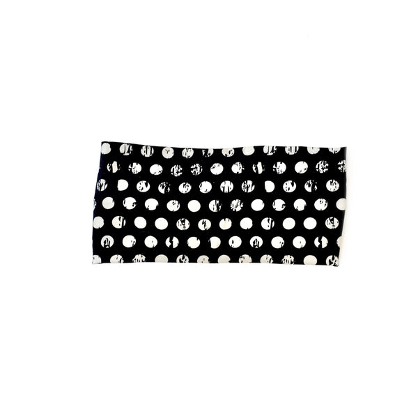 Polka Dot Bohemian Headband featuring white polka dots on a black background
