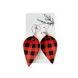 Red Plaid Petal Earrings