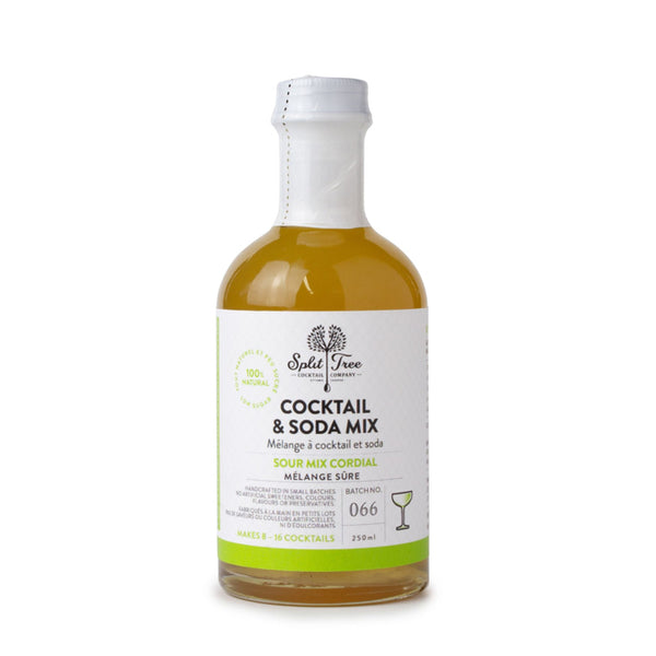 A 250ml glass bottle of Sour Mix Cordial sealed with white plastic on a white background