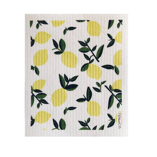 A square Swedish sponge cloth with citrus lemon print