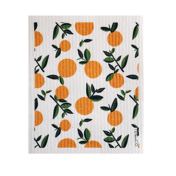 A square Swedish sponge cloth with citrus orange print