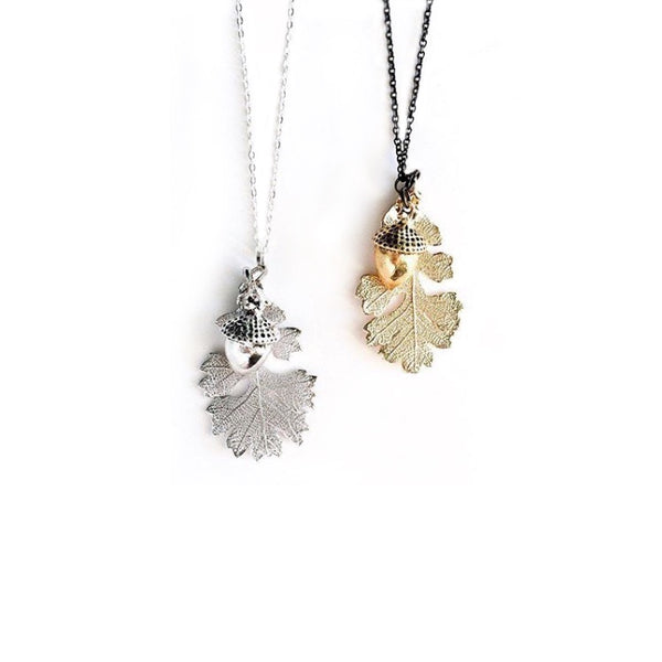 Tiny Acorn & Oak Leaf Necklace