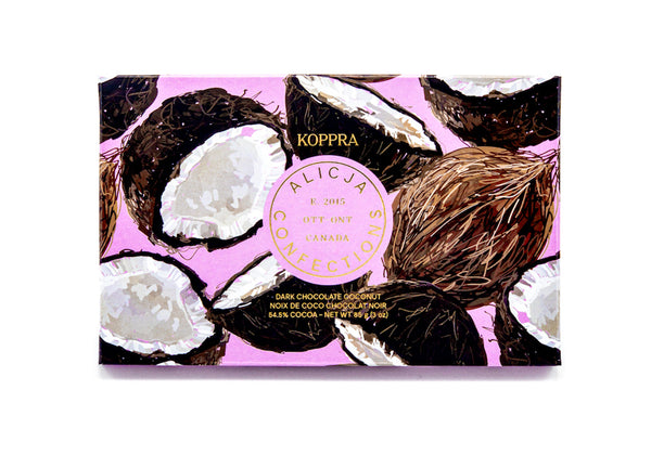 Koppra Coconut Bar package showing halved coconuts on a pink background