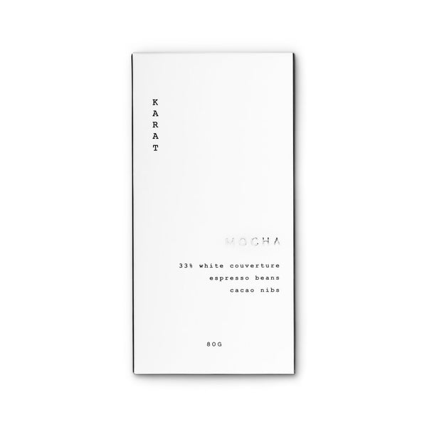 A white and silver Mocha bar box