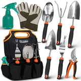 Scuddles Valentines Day Gifts for him her - 7 Piece Stainless Steel Heavy Duty Garden Tools Set, with Non-Slip Rubber Grip, Storage Tote Bag, Outdoor Hand Tools, Garden Gift, Black and Orange |