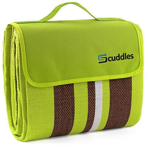 Extra Large Picnic Blanket Dual Layers for Outdoor Water-Resistant Handy Mat Tote Spring Summer Yellow and Brown Striped Great for The Beach,Camping on Grass Waterproof Sandproof (58x76)