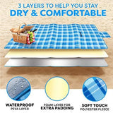 Picnic Outdoor Blanket Park Blanket Beach Mat for Camping on Grass Oversized Seats 4 Adults Water Resistant Picnic Mat (60 x 87)
