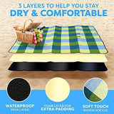 Extra Large Picnic & Outdoor Blanket Dual Layers for Outdoor Water-Resistant Handy Mat Tote Spring Summer Blue and White Striped Great for The Beach,Camping on Grass Waterproof Sandproof (58 x 58)