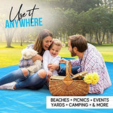 Extra Large Picnic & Outdoor Blanket Dual Layers for Outdoor Water-Resistant Handy Mat Tote Spring Summer Blue and White Striped Great for The Beach,Camping on Grass Waterproof Sandproof(80 X 80)