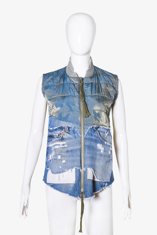 50/50 Army Camo/Vintage Denim Quilted Flight Vest
