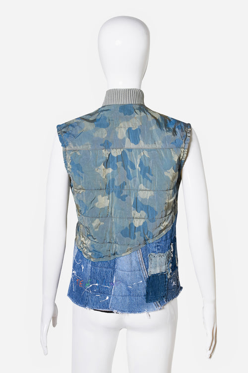 50/50 Army Camo/Vintage Denim Quilted Flight Vest - Exclusive