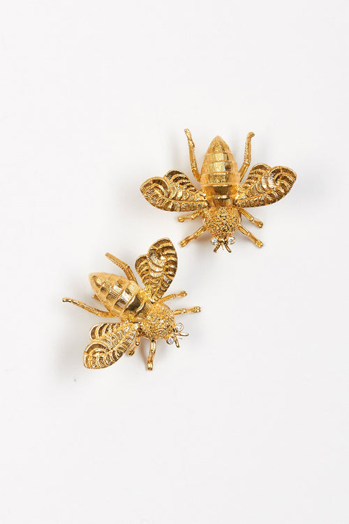 Diamond Moth Clip Earrings