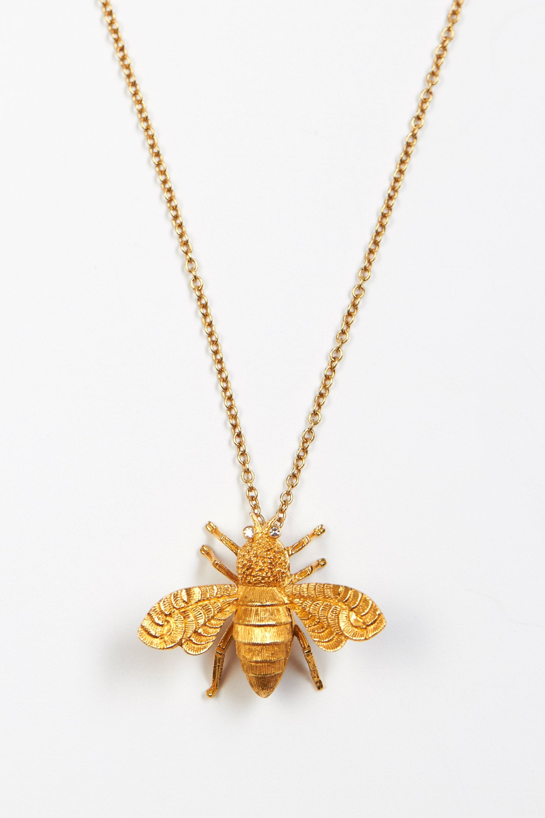 beependant blanche pendant smallyellowgold gold honey bee lily