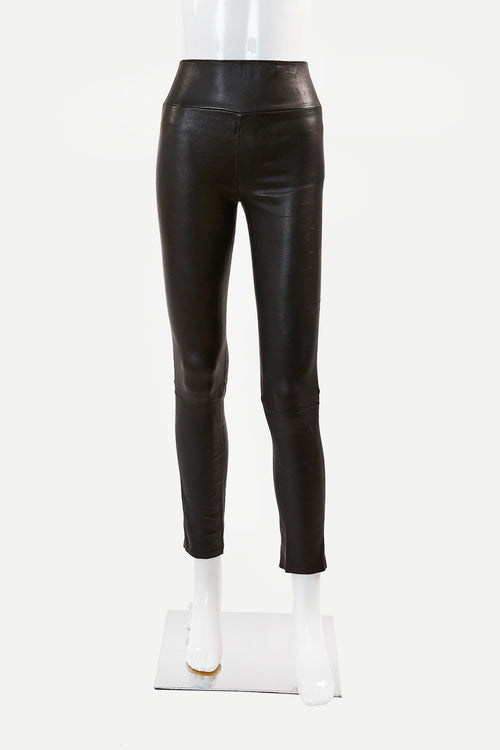 High Waist Leather Ankle Leggings