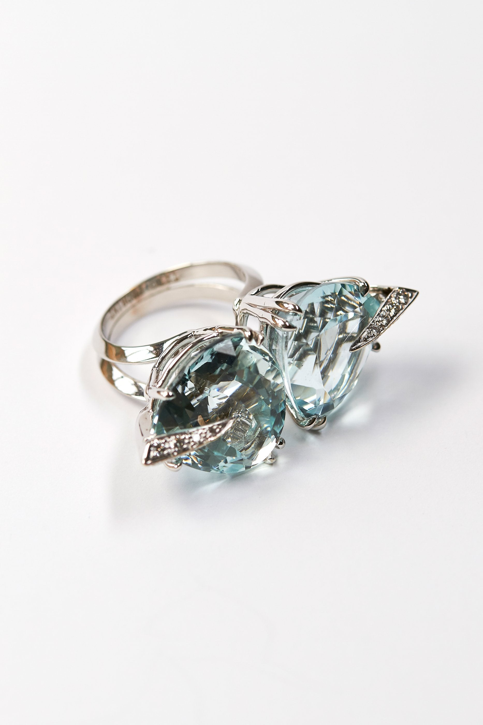 vintage products ring natural jewellery diamond aquamarine banque carat