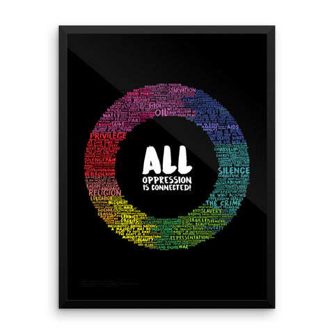 All Oppression is Connected Poster (Black, Framed)