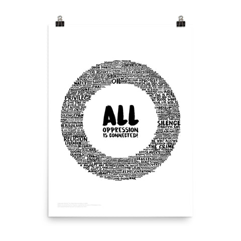 All Oppression is Connected Poster, Monochrome (White)