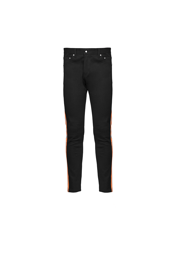 The Drop Crotch Jean (Black and Highlighter Orange)