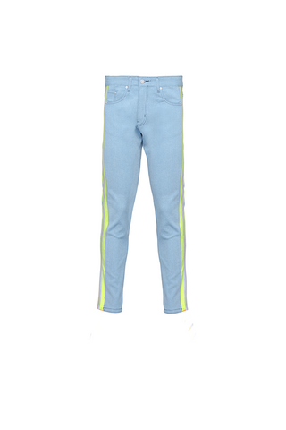 The Drop Crotch Jean (Blue and Highlighter Orange)