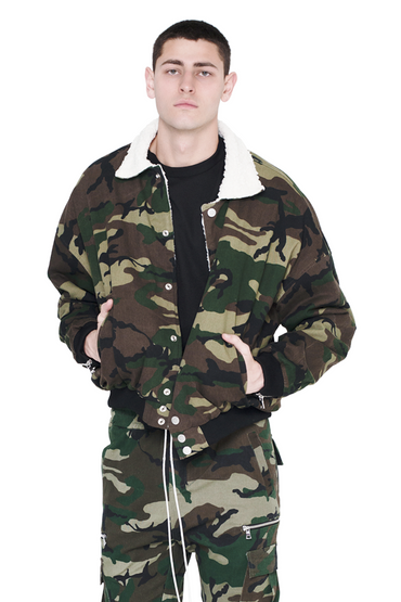 Camo Bomber Jacket With Sherpa
