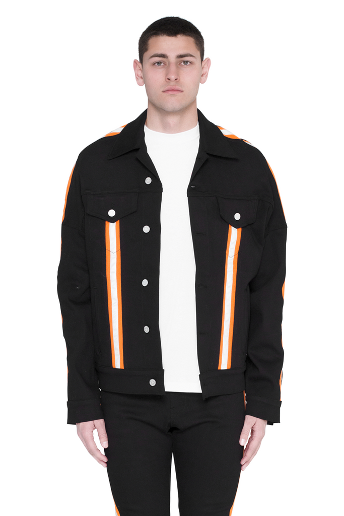 Jean Jacket (Black and Highlighter Orange)