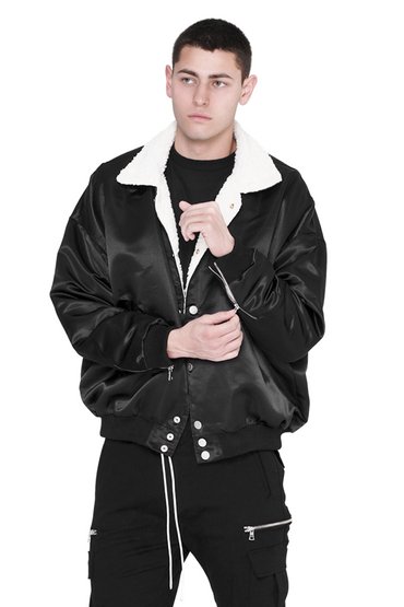 Black Satin Ace Jacket Bomber With Sherpa