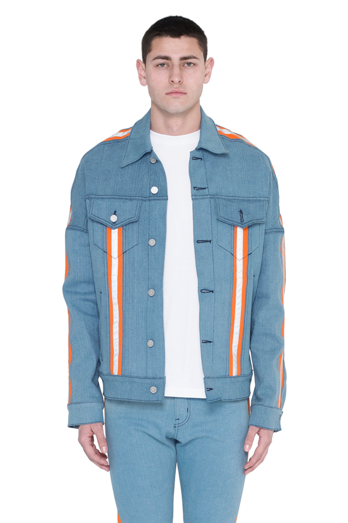 Jean Jacket (Blue and Highlighter Orange)