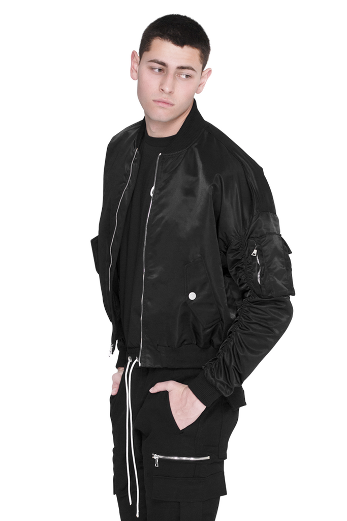 Nylon Bomber Jacket ( Black)