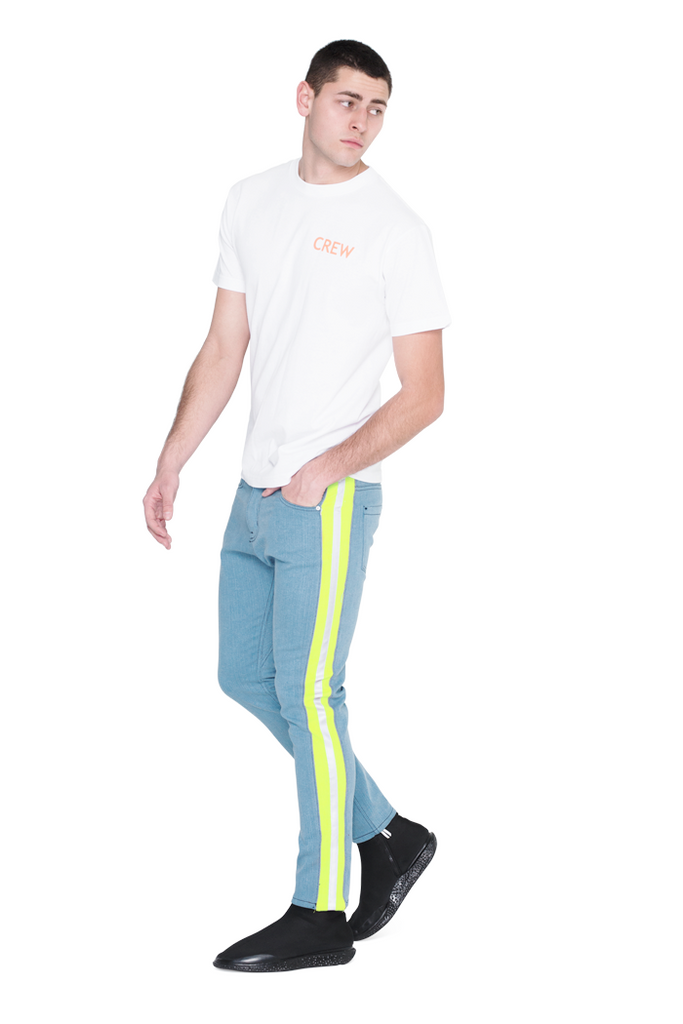 The Drop Crotch Jean (Blue and Highlighter Green)
