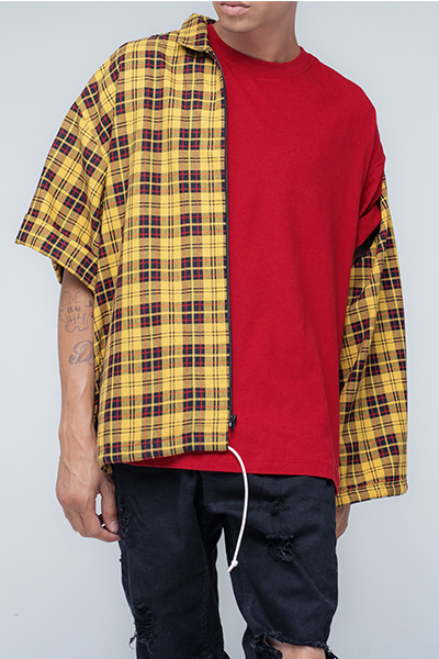trendy and stylish yellow flannel shirts for men - Johnny - Yellow Zip Up Flannel