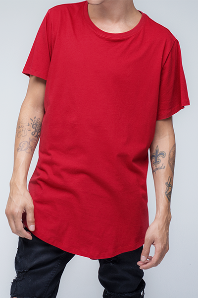 trendy and stylish Scallop T-Shirt for men in Red color | Scooter - Chilli Pepper Scallop T Shirt