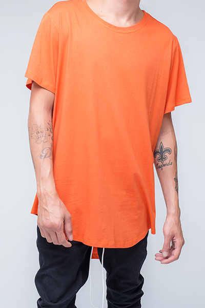 trendy and stylish Scallop T-Shirt for men in Orange color | Scooter - Orange Pepper Scallop T Shirt