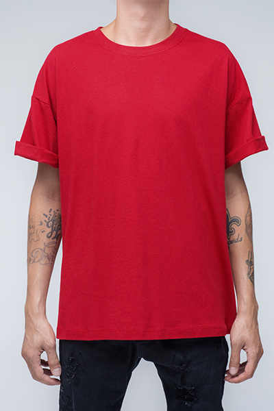 trendy and stylish Oversized T Shirt for men in red color | Zulu - Chilli Pepper Oversized T Shirt
