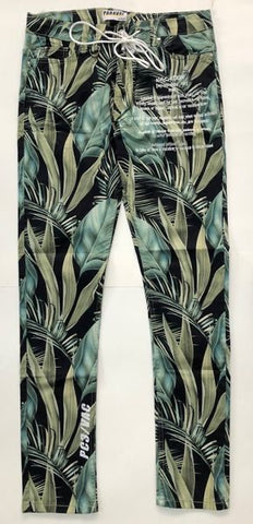 Hawaiian Print Pink and Purple Straight Leg Pant