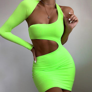 Neon One Shoulder Dress