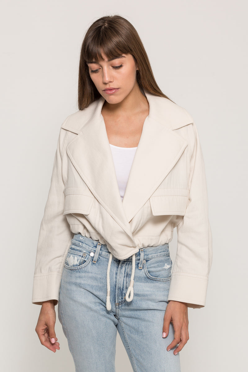 CROPPED COTTON LAPEL JACKET