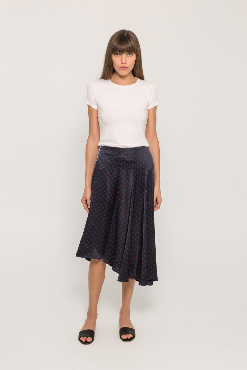 LEAF FOULARD ASYMMETRIC SKIRT