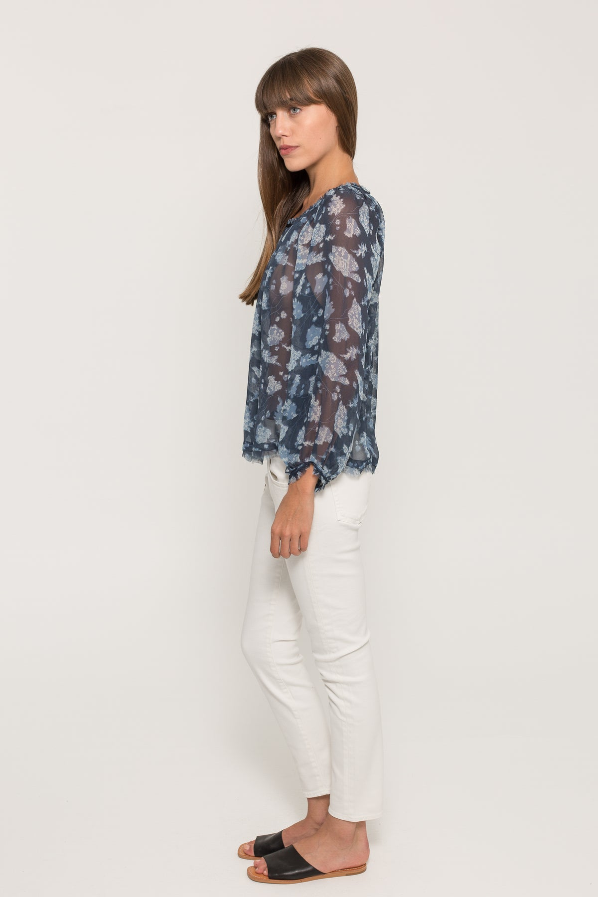 BANDANA CHIFFON SHIRRED TOP
