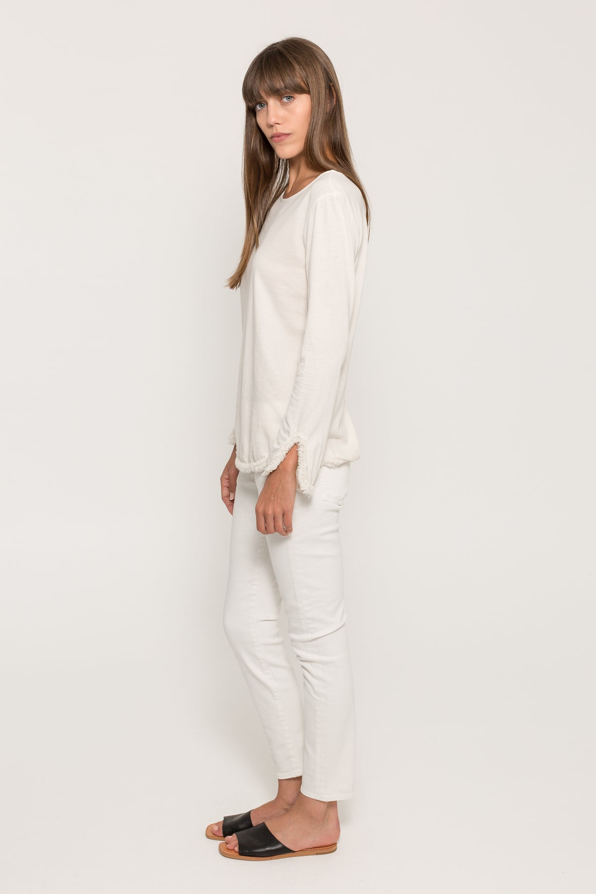 SUEDED JERSEY GAUZE SHIRT TAIL